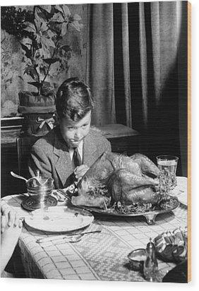 Happy Thanksgiving Wood Print by American School