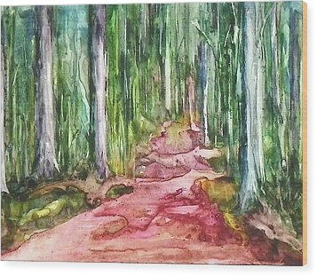 Wood Print featuring the painting Happy Trail by Anna Ruzsan