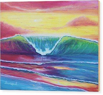 Happy Wave Wood Print