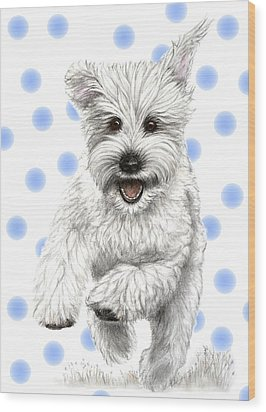 Wood Print featuring the drawing Happy Blue Polka Dots Doggy by Heidi Kriel