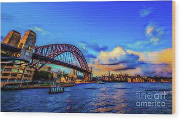 Wood Print featuring the photograph Harbor Bridge by Perry Webster