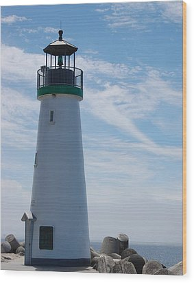 harbor lighthouse Santa Cruz Wood Print by Garnett  Jaeger