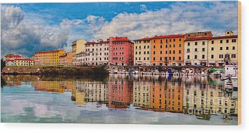 Harbor Reflections In Panoramic Wood Print