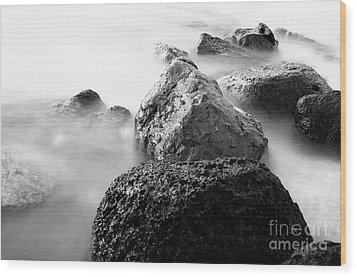 Harbor Rocks And Misty Ocean II Wood Print by Charmian Vistaunet