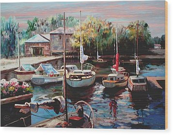 Harbor Sailboats At Rest Wood Print by Ron Chambers