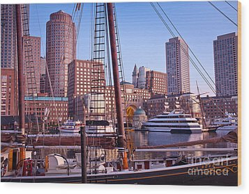 Harbor Sunrise Wood Print by Susan Cole Kelly