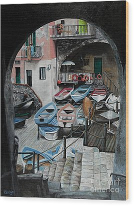 Harbor's Edge In Riomaggiore Wood Print by Charlotte Blanchard