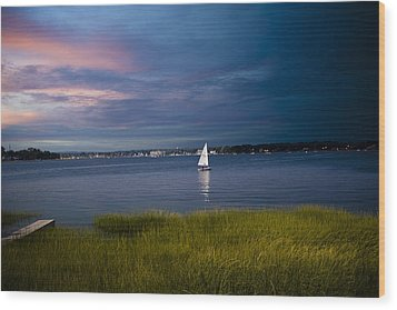 Harborview Sunset Wood Print by Joshua Francia