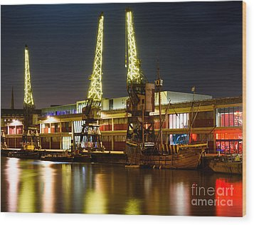 Harbour Cranes Wood Print by Colin Rayner
