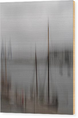 Harbour In The Fog Wood Print by Inge Riis McDonald