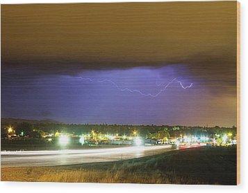 Hard Rain  Lightning Thunderstorm Over Loveland Colorado Wood Print by James BO  Insogna