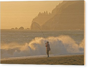 Hardy Fisherman On The California Coast Wood Print