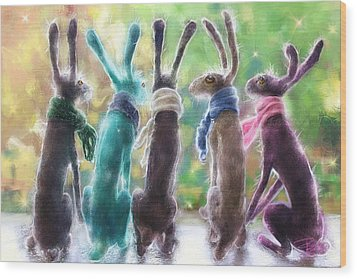 Hares With Scarves Wood Print by Debra Baldwin