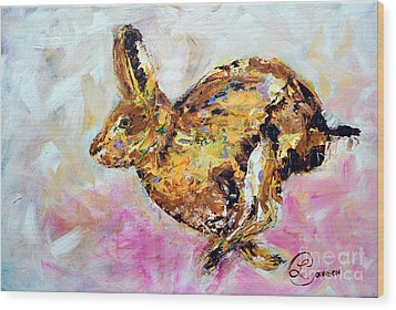 Haring Hare Wood Print by Lynda Cookson