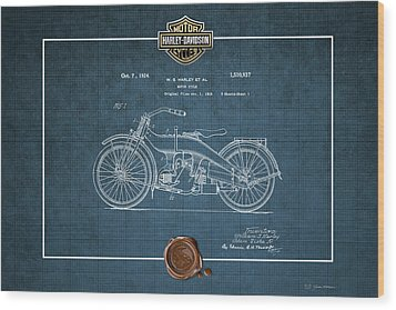 Wood Print featuring the digital art Harley-davidson 1924 Vintage Patent Blueprint  by Serge Averbukh
