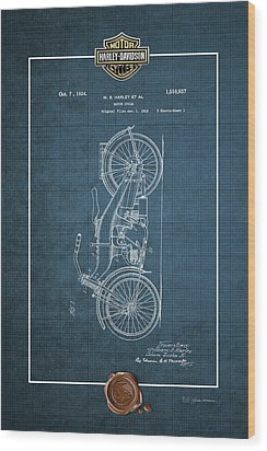 Wood Print featuring the digital art Harley-davidson 1924 Vintage Patent Blueprint With 3d Badge by Serge Averbukh