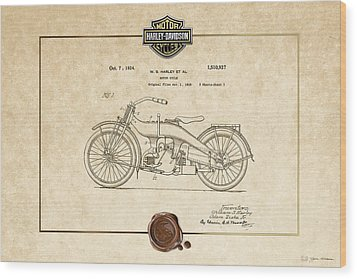 Wood Print featuring the digital art Harley-davidson 1924 Vintage Patent Document  by Serge Averbukh