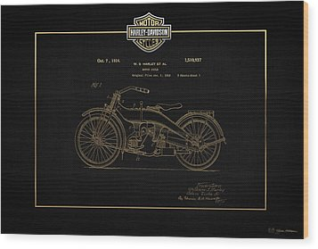 Wood Print featuring the digital art Harley-davidson 1924 Vintage Patent In Gold On Black by Serge Averbukh