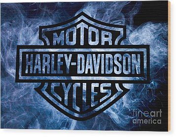 Harley Davidson Logo Blue Wood Print by Randy Steele