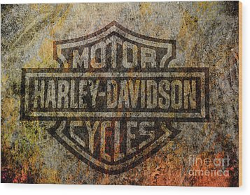 Harley Davidson Logo Grunge Metal Wood Print by Randy Steele