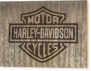 Harley Davidson Logo On Wood Wood Print