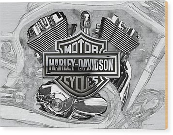 Wood Print featuring the digital art Harley-davidson Motorcycle Engine Detail With 3d Badge  by Serge Averbukh