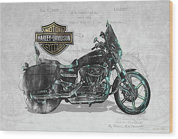 Wood Print featuring the digital art Harley-davidson Motorcycle With 3d Badge Over Vintage Patent by Serge Averbukh
