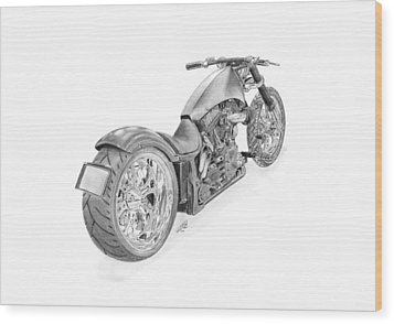 Harley-davidson Twin Cam Custom Wood Print by Gabor Vida