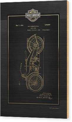Wood Print featuring the digital art Harley-davidson Vintage 1924 Patent In Gold With 3d Badge On Black by Serge Averbukh