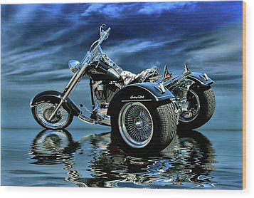 Wood Print featuring the photograph Harley Heritage Soft Tail Trike by Steven Agius