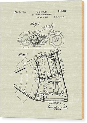 Harley Motorcycle 1938 Patent Art Wood Print by Prior Art Design