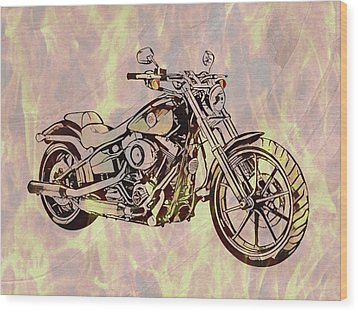 Wood Print featuring the mixed media Harley Motorcycle On Flames by Dan Sproul