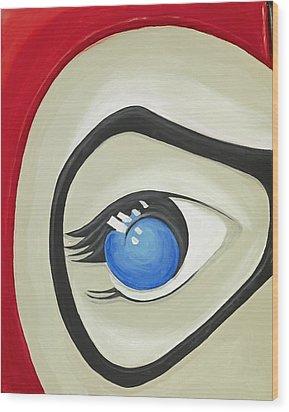 Harley Quinn Eye Wood Print