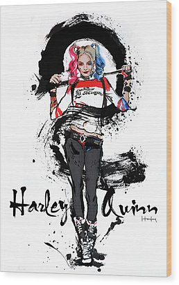Harley Quinn Wood Print by Haze Long