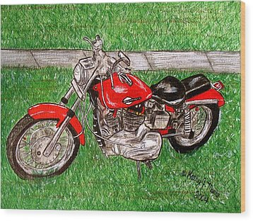 Harley Red Sportster Motorcycle Wood Print by Kathy Marrs Chandler