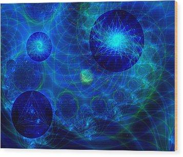 Wood Print featuring the digital art Harmonic Galaxies by Fran Riley