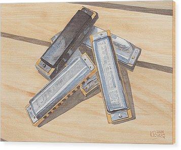 Harmonica Pile Wood Print by Ken Powers