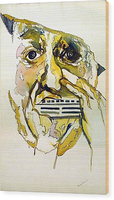 Harmonica Player Wood Print by Mindy Newman