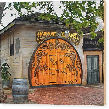 Wood Print featuring the photograph Harmony Chapel Harmony California by Barbara Snyder