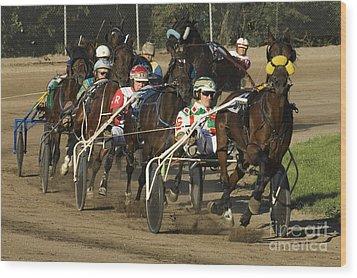 Harness Racing 9 Wood Print by Bob Christopher