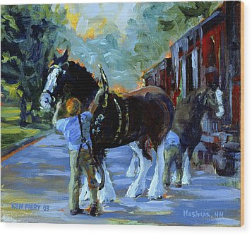 Harnessing The Clydesdales Wood Print