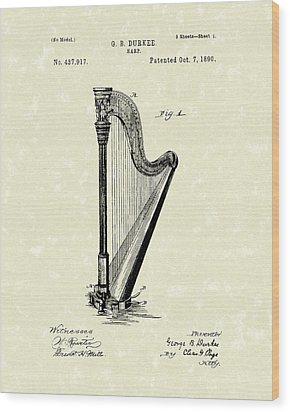 Harp 1890 Patent Art Wood Print