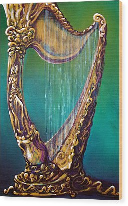 Wood Print featuring the painting Harp by Kevin Middleton