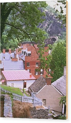 Wood Print featuring the painting Harpers Ferry Overlook by Larry Darnell