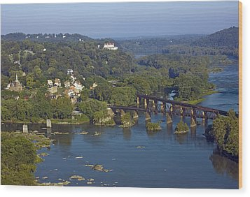 Harpers Ferry West Virginia From Above Wood Print by Brendan Reals