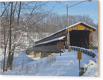 Harpersfield Covered  Bridge Ohio Wood Print by Lila Fisher-Wenzel
