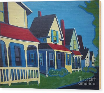 Harpswell Cottages Wood Print by Debra Bretton Robinson