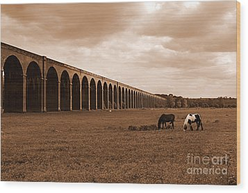 Harringworth Viaduct And Horses Grazing Wood Print by Louise Heusinkveld