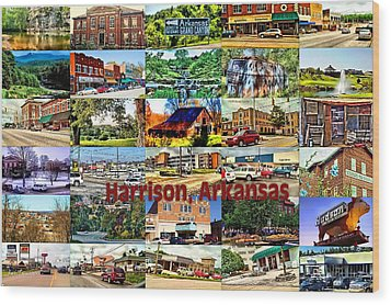 Harrison Arkansas Collage Wood Print by Kathy Tarochione