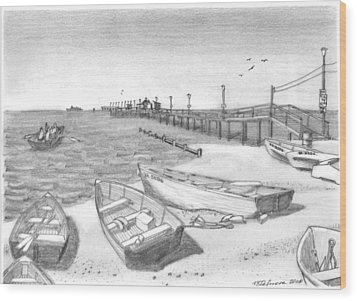Harrisons Pier Ocean View Wood Print
